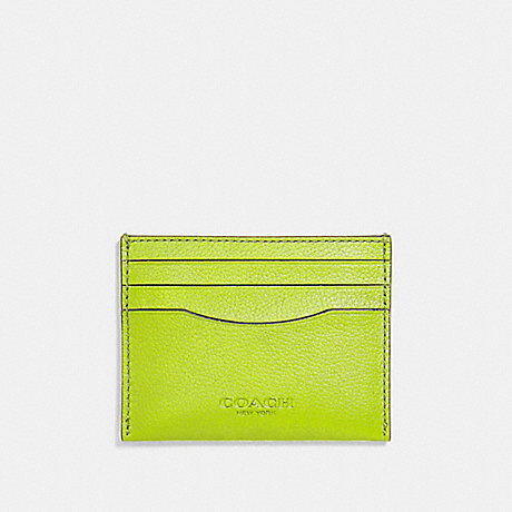 COACH CARD CASE - NEON YELLOW/BLACK ANTIQUE NICKEL - F29140