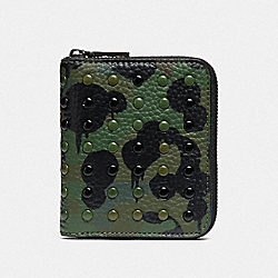 SMALL ZIP AROUND WALLET WITH WILD BEAST PRINT AND RIVETS - SURPLUS - COACH F29159
