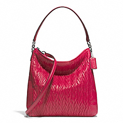 COACH GATHERED CONVERTIBLE HOBO - SILVER/RASPBERRY - F29167