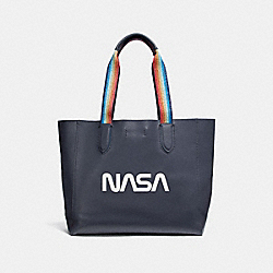 LARGE DERBY TOTE WITH SPACE MOTIF - f29169 - SILVER/MIDNIGHT