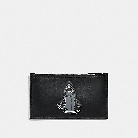 COACH ZIP CARD CASE WITH MASCOT - SHARKY BLACK - F29184