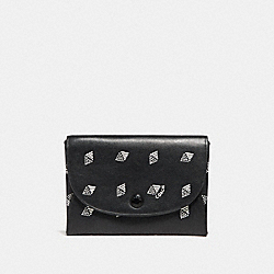 SNAP CARD CASE WITH DOT DIAMOND PRINT - BLACK/CHALK - COACH F29198