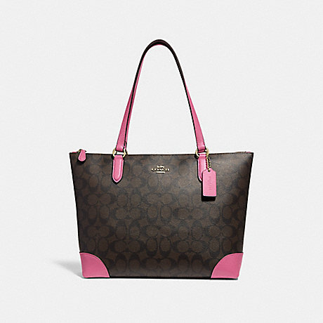 COACH ZIP TOP TOTE IN SIGNATURE CANVAS - BROWN /PINK/LIGHT GOLD - F29208