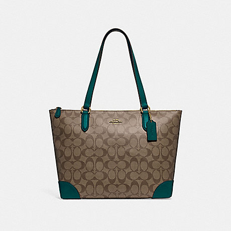 COACH ZIP TOP TOTE IN SIGNATURE CANVAS - KHAKI/DARK TURQUOISE/LIGHT GOLD - F29208