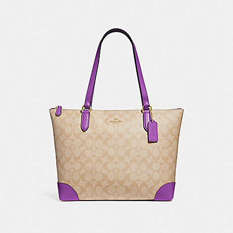 COACH ZIP TOP TOTE IN SIGNATURE CANVAS - LIGHT KHAKI/PRIMROSE/IMITATION GOLD - F29208