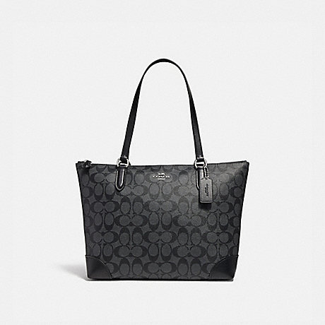 COACH ZIP TOP TOTE IN SIGNATURE CANVAS - BLACK SMOKE/BLACK/SILVER - F29208