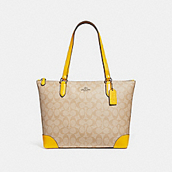 COACH ZIP TOP TOTE IN SIGNATURE CANVAS - LIGHT KHAKI/CANARY/SILVER - F29208