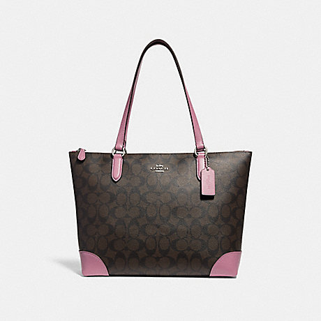 COACH ZIP TOP TOTE IN SIGNATURE CANVAS - brown/Azalea/silver - f29208