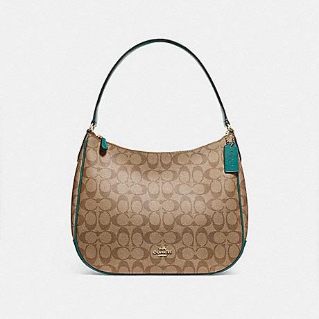 COACH ZIP SHOULDER BAG IN SIGNATURE CANVAS - KHAKI/DARK TURQUOISE/LIGHT GOLD - F29209