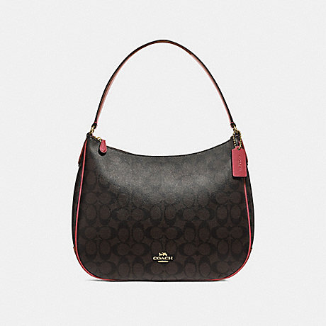 COACH ZIP SHOULDER BAG IN SIGNATURE CANVAS - BROWN/RUBY/IMITATION GOLD - F29209