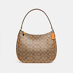 ZIP SHOULDER BAG IN SIGNATURE CANVAS - KHAKI/TANGERINE/SILVER - COACH F29209