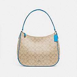 ZIP SHOULDER BAG IN SIGNATURE CANVAS - LIGHT KHAKI/BRIGHT BLUE/SILVER - COACH F29209