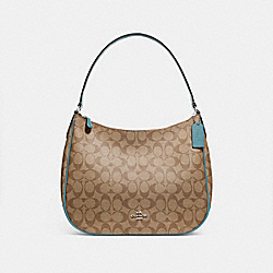 ZIP SHOULDER BAG IN SIGNATURE CANVAS - KHAKI/MARINE/SILVER - COACH F29209