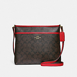 FILE CROSSBODY IN SIGNATURE CANVAS - BROWN/RUBY/IMITATION GOLD - COACH F29210