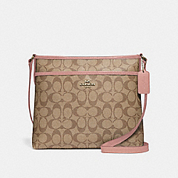 FILE CROSSBODY IN SIGNATURE CANVAS - KHAKI/PETAL/SILVER - COACH F29210