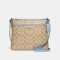 FILE CROSSBODY IN SIGNATURE CANVAS - LT KHAKI/CORNFLOWER/SILVER - COACH F29210