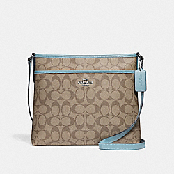 FILE CROSSBODY IN SIGNATURE CANVAS - KHAKI/CYAN/SILVER - COACH F29210