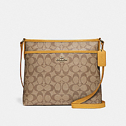 FILE CROSSBODY IN SIGNATURE CANVAS - KHAKI FLAX/SILVER - COACH F29210