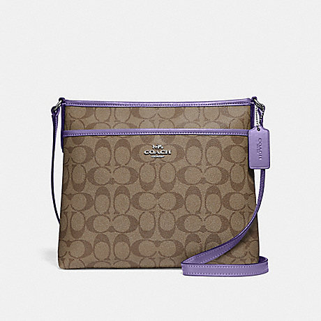 COACH FILE CROSSBODY IN SIGNATURE CANVAS - KHAKI/LIGHT PURPLE/SILVER - F29210
