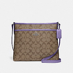 FILE CROSSBODY IN SIGNATURE CANVAS - KHAKI/LIGHT PURPLE/SILVER - COACH F29210