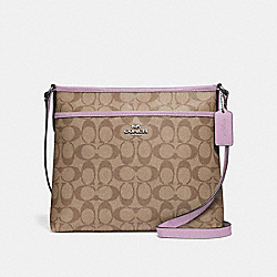 FILE CROSSBODY IN SIGNATURE CANVAS - KHAKI/JASMINE/SILVER - COACH F29210