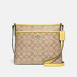 FILE CROSSBODY IN SIGNATURE CANVAS - LIGHT KHAKI/LIGHT YELLOW/SILVER - COACH F29210