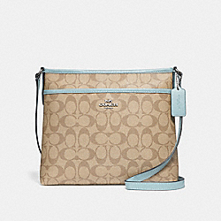 FILE CROSSBODY IN SIGNATURE CANVAS - LIGHT KHAKI/SEAFOAM/SILVER - COACH F29210