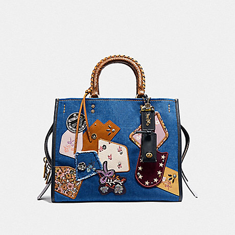 COACH ROGUE WITH PATCHWORK AND SNAKESKIN HANDLES - DENIM/BRASS - F29234