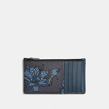 COACH ZIP CARD CASE WITH FLORAL HAWAIIAIN PRINT - MIDNIGHT MULTI - F29270