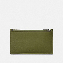 COACH ZIP CARD CASE - Dark Olive/Black Antique Nickel - F29272