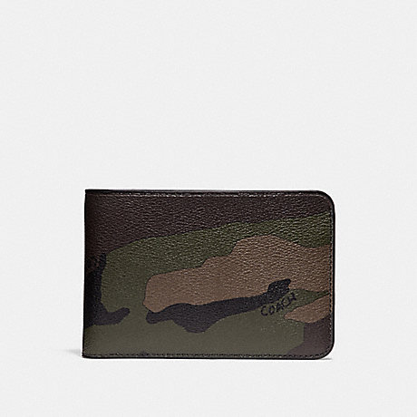 COACH SLIM TRAVEL WALLET WITH CAMO PRINT - DARK GREEN - f29280
