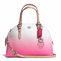 COACH PEYTON OMBRE CORA DOMED SATCHEL - SILVER/POMEGRANATE - F29282