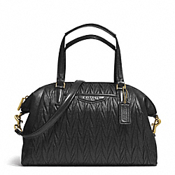 COACH GATHERED LEATHER SATCHEL - BRASS/BLACK - F29284