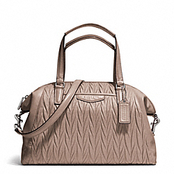 COACH GATHERED LEATHER SATCHEL - SILVER/PUTTY - F29284