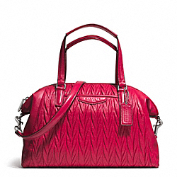 COACH GATHERED LEATHER SATCHEL - SILVER/RASPBERRY - F29284