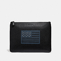 COACH LARGE POUCH WITH FLAG MOTIF - BLACK - F29290