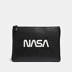 LARGE POUCH WITH SPACE MOTIF - BLACK - COACH F29291