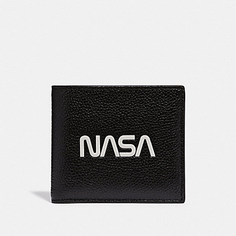 COACH DOUBLE BILLFOLD WALLET WITH SPACE MOTIF - BLACK - f29309