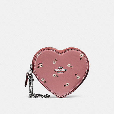 COACH HEART COIN CASE WITH DITSY DAISY PRINT AND BOW ZIP PULL - vintage pink multi /silver - f29319