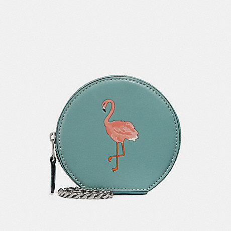 COACH ROUND COIN CASE WITH FLAMINGO MOTIF - SILVER/AQUAMARINE - f29322