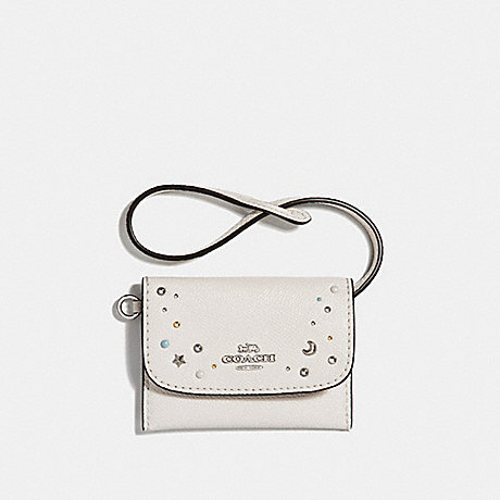 COACH CARD POUCH WITH CELESTIAL STUDS - SILVER/CHALK - f29323