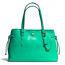 COACH PEYTON SAFFIANO LEATHER DRAWSTRING CARRYALL - BRASS/JADE - F29362