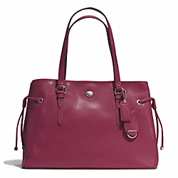 COACH PEYTON LEATHER DRAWSTRING CARRYALL - SILVER/MERLOT - F29362