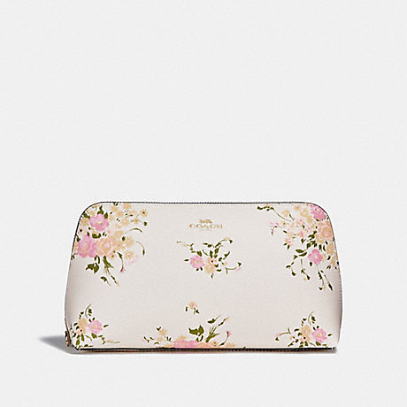 COACH COSMETIC CASE 22 WITH FLORAL BUNDLE PRINT AND BOW ZIP PULL - CHALK MULTI/IMITATION GOLD - f29366