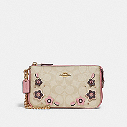 COACH LARGE WRISTLET 19 IN SIGNATURE CANVAS WITH FLORAL APPLIQUE - light khaki/multi/imitation gold - F29371