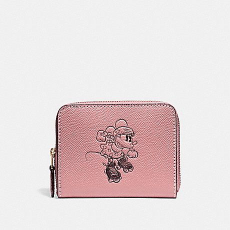 COACH SMALL ZIP AROUND WALLET WITH MINNIE MOUSE MOTIF - Vintage Pink/LIGHT GOLD - f29377