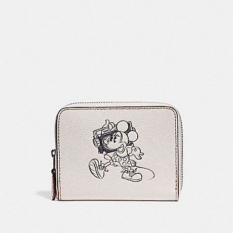 COACH SMALL ZIP AROUND WALLET WITH MINNIE MOUSE MOTIF - CHALK MULTI/SILVER - f29377