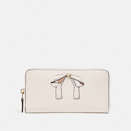 COACH ACCORDION ZIP WALLET WITH BOW - CHALK/IMITATION GOLD - f29382