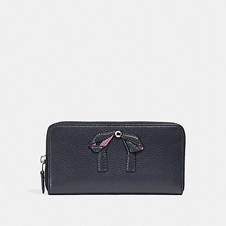 COACH ACCORDION ZIP WALLET WITH BOW - MIDNIGHT NAVY/SILVER - f29382