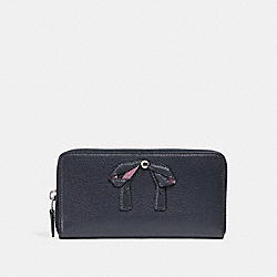 ACCORDION ZIP WALLET WITH BOW - MIDNIGHT NAVY/SILVER - COACH F29382